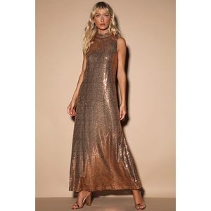 Lulus Shine For Me Copper Sequin Sleeveless Maxi